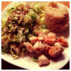 chicken, quinoa, and salad