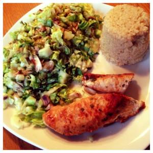 turkey, quinoa, and salad