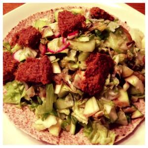 veggie burger, salad, and wrap