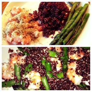 shrimp, red quinoa, and asparagus