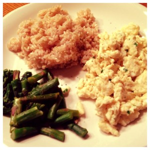 eggs, rice, and asparagus