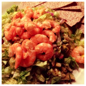 shrimp, salad, and wrap chips