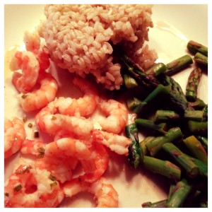 shrimp, asparagus, and brown rice
