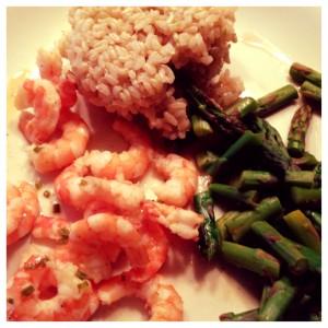 shrimp, asparagus, and brown rice