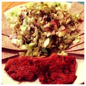 turkey, salad, and a wrap