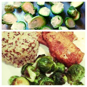 brussel sprouts, turkey, and rainbow quinoa